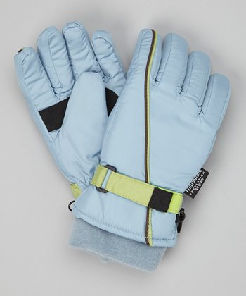 Dark Blue Stripe Ski Gloves