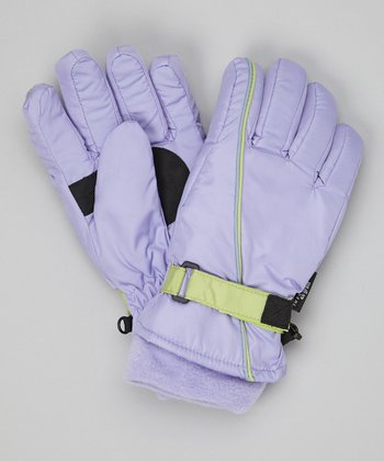 Lavender Stripe Ski Gloves