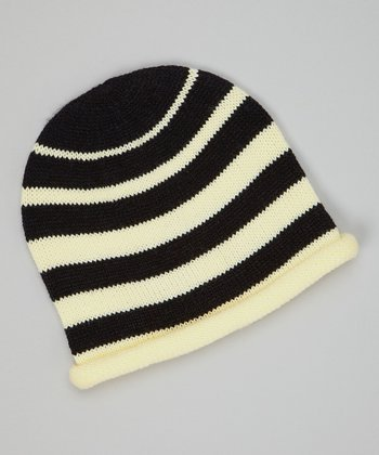 Black & Cream Stripe Knit Beanie