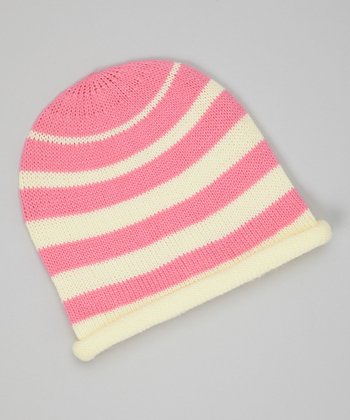 Pink & Cream Stripe Knit Beanie