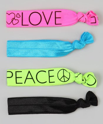 Pink & Green 'Love' Hair Tie Set