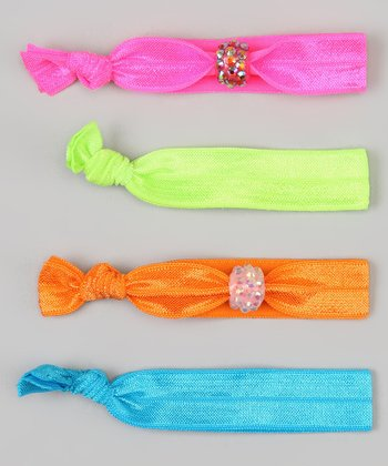 Neon Pink & Neon Orange Rhinestone Hair Tie Set