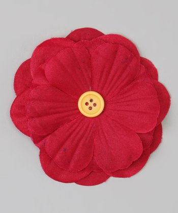 Fuchsia & Yellow Button Flower Clip