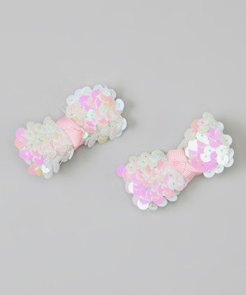 White & Light Pink Sequin Bow Clip Set