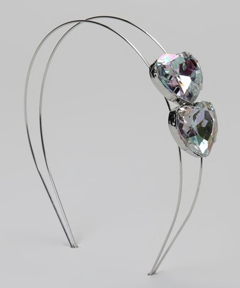 Silver Gem Heart Headband