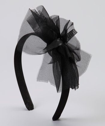 Black Gem Heart Mesh Flower Headband