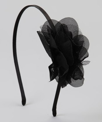 Black Mesh Flower Headband