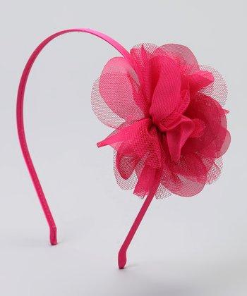 Fuchsia Mesh Flower Headband