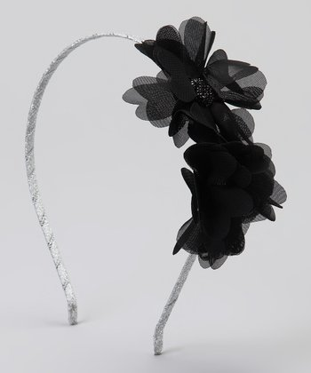Black Gem Chiffon Double Flower Headband