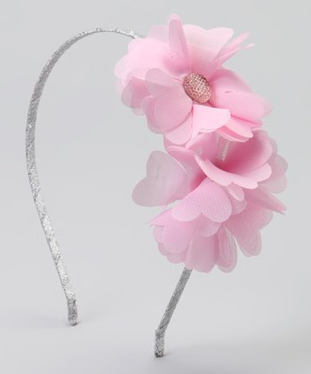 Light Pink Gem Chiffon Double Flower Headband