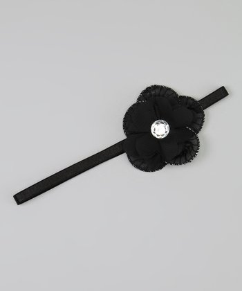 Black Rhinestone Flower Headband
