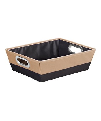 Black & Camel Shallow Color Block Storage Tote