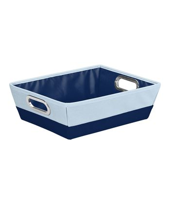 Navy & Baby Blue Shallow Color Block Storage Tote