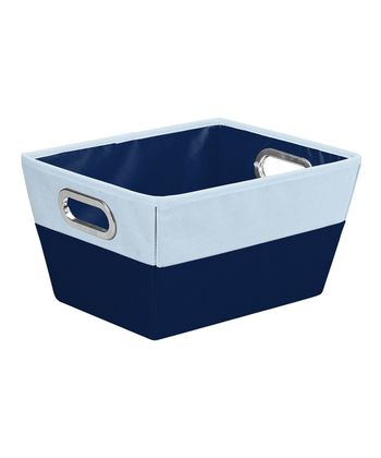 Navy & Baby Blue Medium Color Block Storage Tote