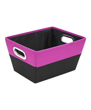 Pink & Black Medium Color Block Storage Tote
