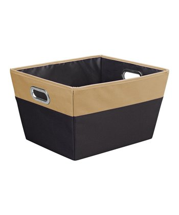Black & Camel Large Color Block Storage Tote