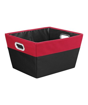 Red & Black Large Color Block Storage Tote