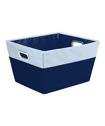 Navy & Baby Blue Large Color Block Storage Tote