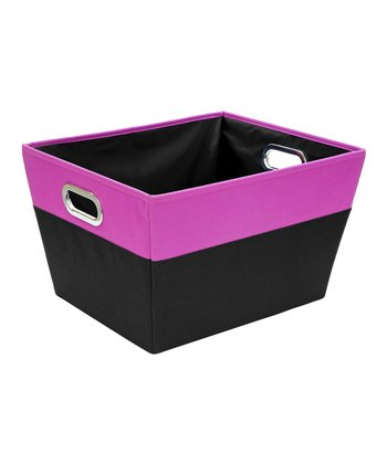 Pink & Black Large Color Block Storage Tote