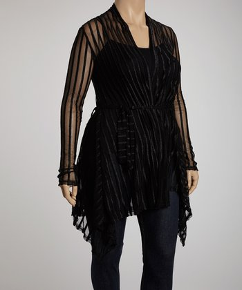 Black Stripe Lace Jasmine Cardigan - Plus
