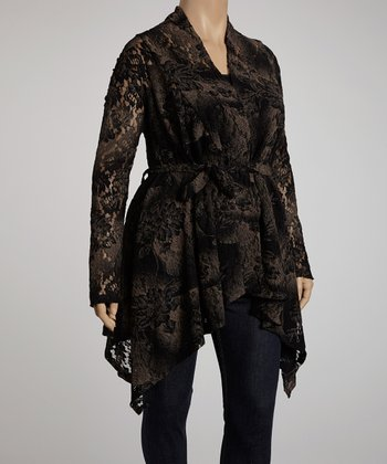 Black Floral Lace Jasmine Cardigan - Plus