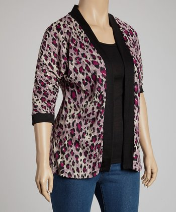 Black & Pink Cheetah Layered Top - Plus