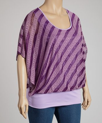 Purple Stripe Cape-Sleeve Top - Plus
