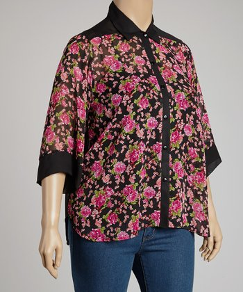 Black & Pink Floral Button-Up - Plus