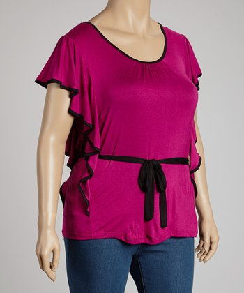 Magenta Ruffle Tie-Waist Top - Plus