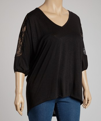 Black Lace-Sleeve Top - Plus