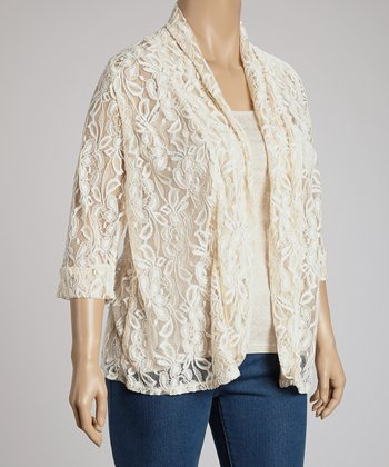 White Lace Jacket - Plus