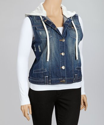 Dark Wash Denim Hooded Vest - Plus