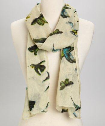 Cream & Blue Bird Scarf