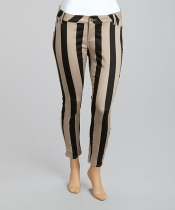 Dark Khaki & Black Bold Railroad Cropped Pants - Plus