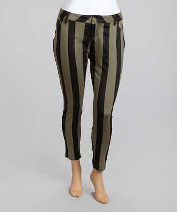 Olive & Black Bold Railroad Stripes Cropped Pants - Plus