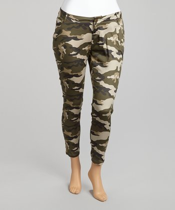 Olive Camo Cropped Pants - Plus