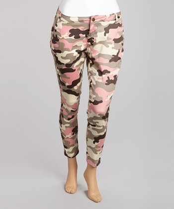 Pink Camo Cropped Pants - Plus
