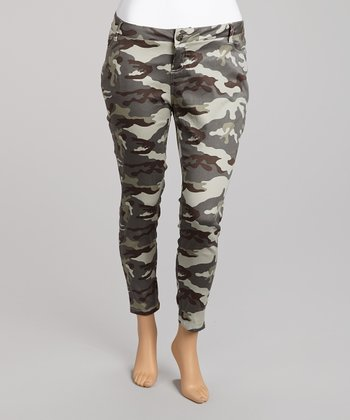 Gray Camo Cropped Cargo Pants - Plus