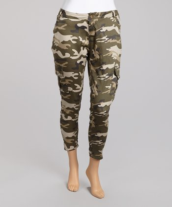 Olive Camo Cropped Cargo Pants - Plus