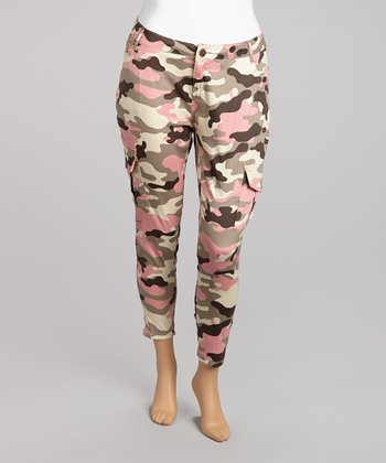 Pink Camo Cropped Cargo Pants - Plus