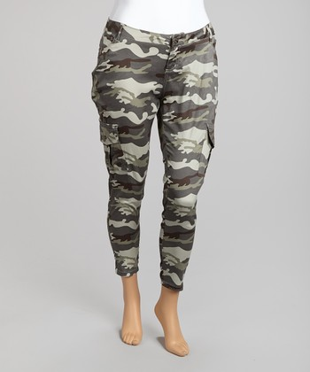 Grey Camo Cropped Cargo Pants - Plus