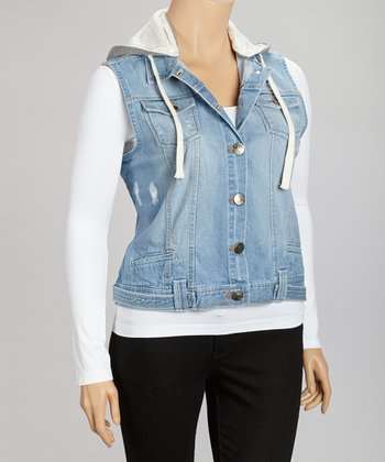 Light Denim Hooded Vest - Plus
