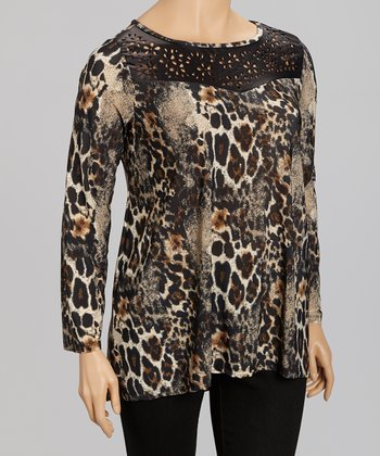 Black Animal Crocheted Long-Sleeve Top - Plus