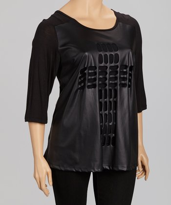 Black Cross Cutout Three-Quarter Sleeve Top - Plus