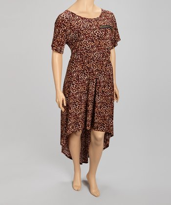 Brown & Burgundy Leopard Hi-Low Dress - Plus