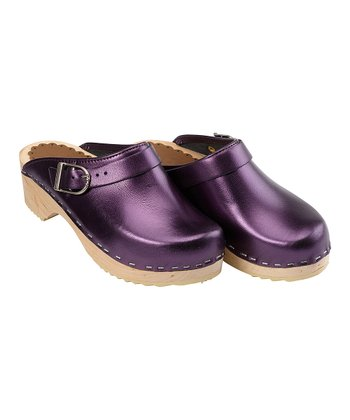 Metallic Purple Classic Swedish Clogs