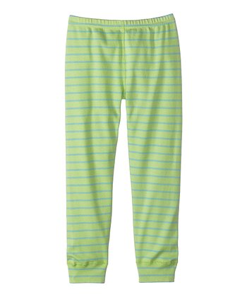 Apple Green & Blue Calm Stripe Leggings - Infant, Toddler & Girls