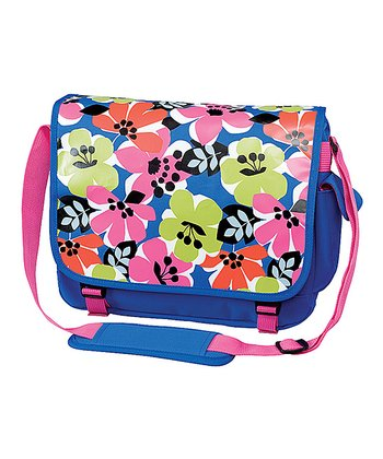 Blue Bold Floral Messenger Bag