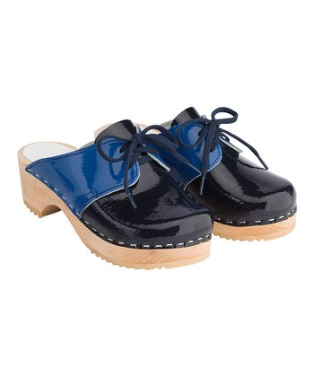 Navy Patent Swedish Saddle Clogs