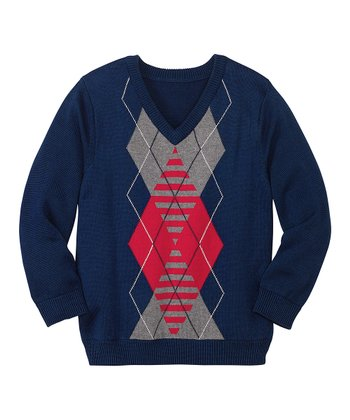 Navy Argyle Sweater - Infant, Toddler & Boys